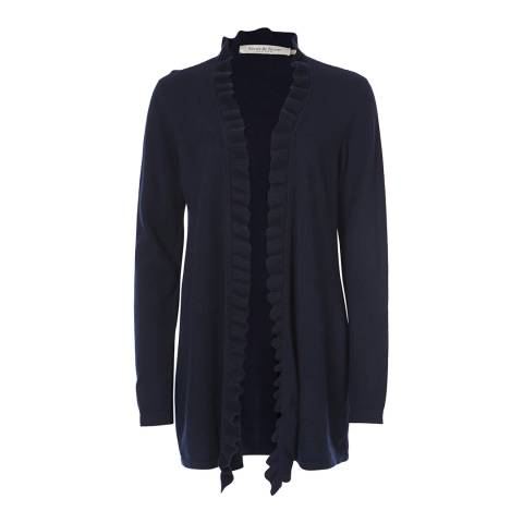 Scott & Scott London Dark Navy Frill Front Cashmere Cardigan