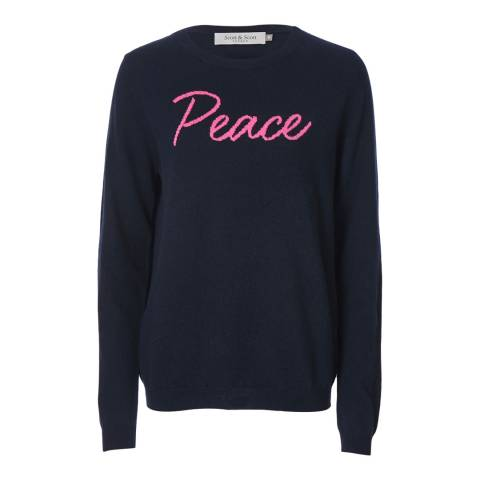 Scott & Scott London Navy/Pink Peace Slogan Cashmere Jumper