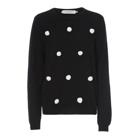 Scott & Scott London Black Pom Pom Cashmere Jumper