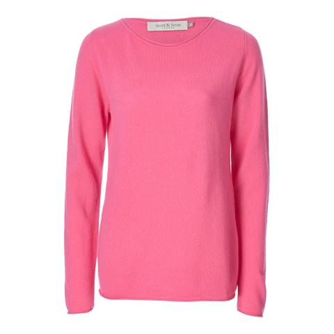 Scott & Scott London Popping Pink Roll Hem Sleeve Cashmere Jumper