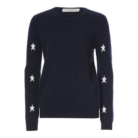 Scott & Scott London Navy/White Star Arm Cashmere Jumper