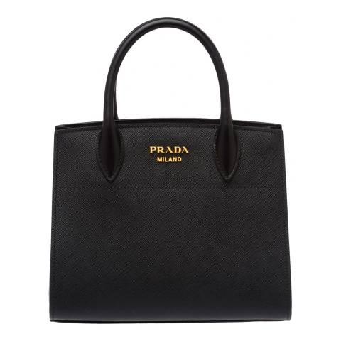 Prada Black Leather Small Bibliotheque Tote Bag