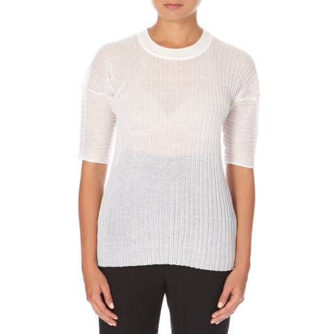Joseph White Cotton Rib Knit T-Shirt