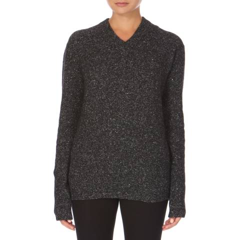 Joseph Black V Neck Fine Tweed Jumper