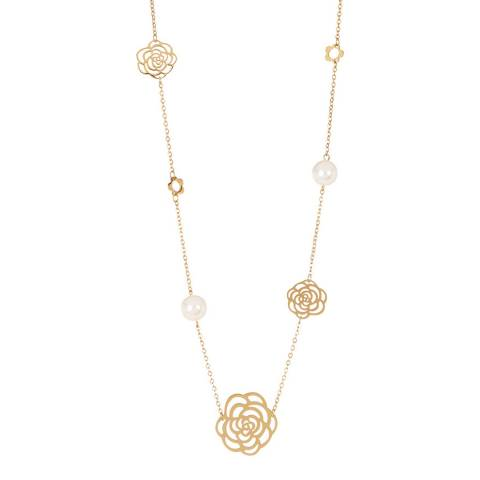 White label by Liv Oliver Gold Flower and Pearl Necklace