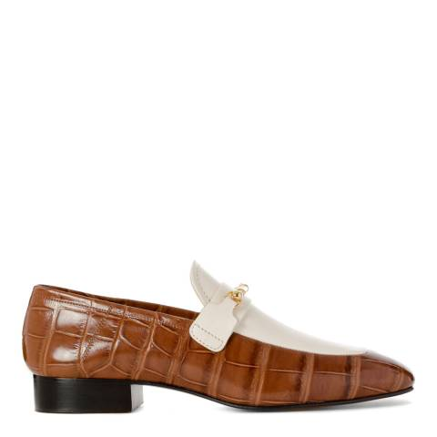 Joseph Brown/White Leather Loafers