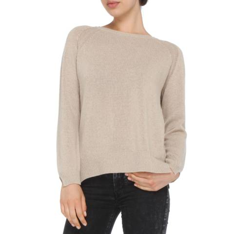 Love Cashmere Sand Cashmere Blend Crew Neck Jumper