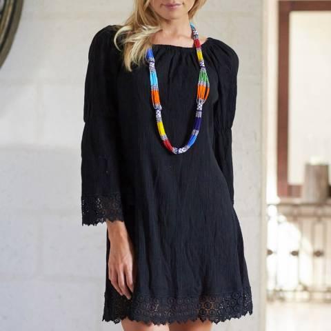 Aspiga Black Cabo Crinkle/Lace Dress