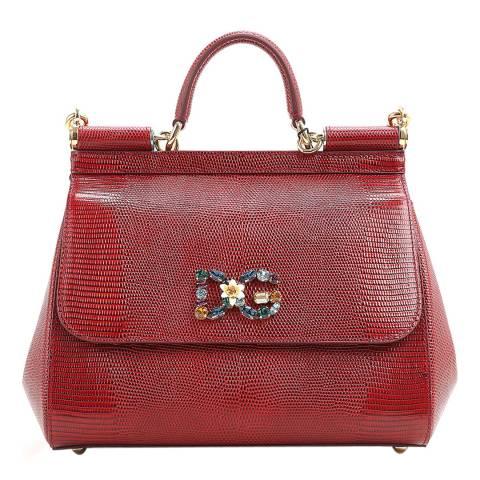 803a05e136 Dolce & Gabbana Red Iguana Print Leather Medium Miss Sicily Bag