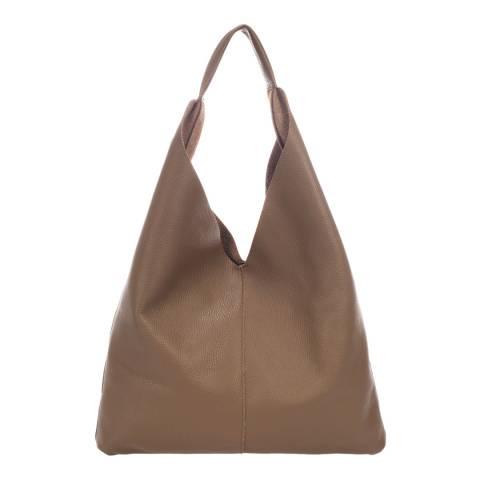Massimo Castelli Taupe Leather Shoulder Bag