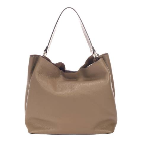 Massimo Castelli Taupe Leather Shoulder Bag