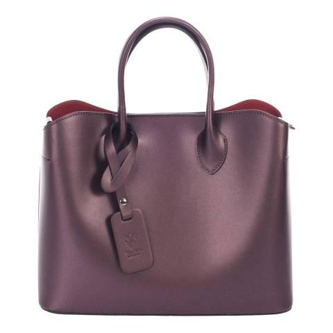Massimo Castelli Wine Leather Top Handle Bag