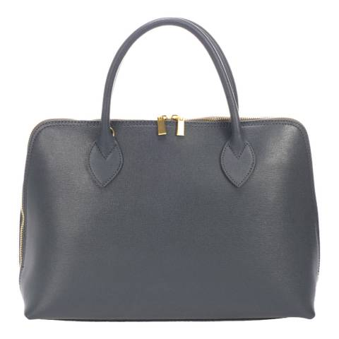 Massimo Castelli Grey Leather Top Handle Bag