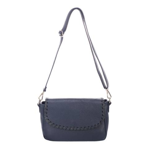 Massimo Castelli Navy Leather Shoulder Bag