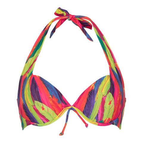 LingaDore Pink/Multi Rainbow Feather Print Halterneck Bikini Top