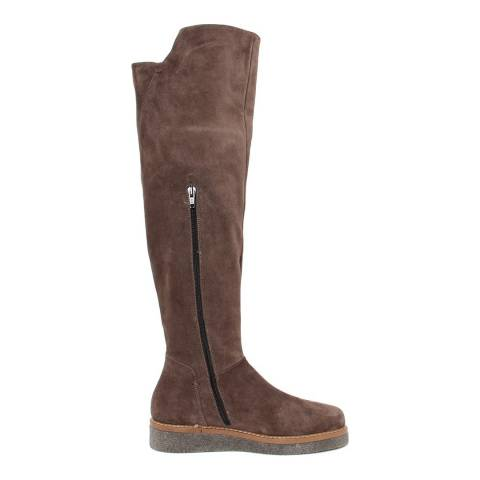 Paola Ferri Brown Distressed Effect Suede Boots
