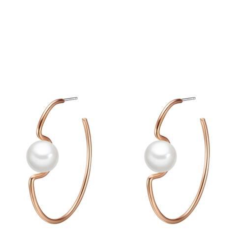 Pearls of London White Pearl Rose Gold Plated Hoop Earrings