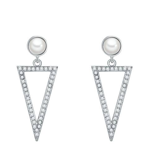 Pearls of London White Pearl Triangular Drop Earrings