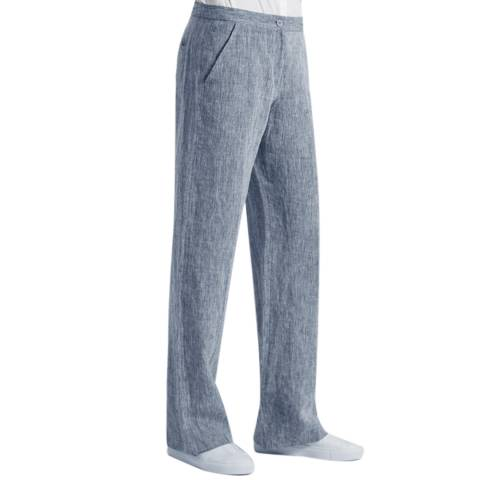 Great Plains Denim Blue Layla Linen Straight Leg Trousers