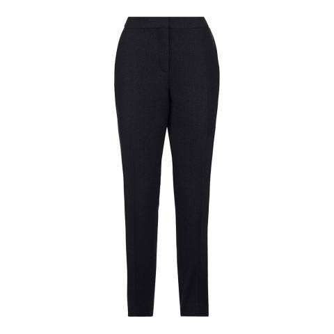 Jaeger Black Wool Blend Herringbone Trousers