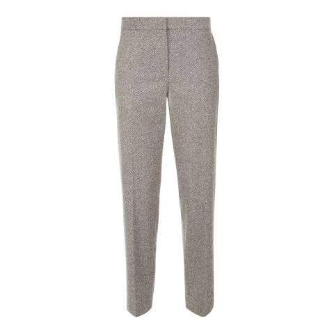 Jaeger Grey Wool Blend Herringbone Trouser