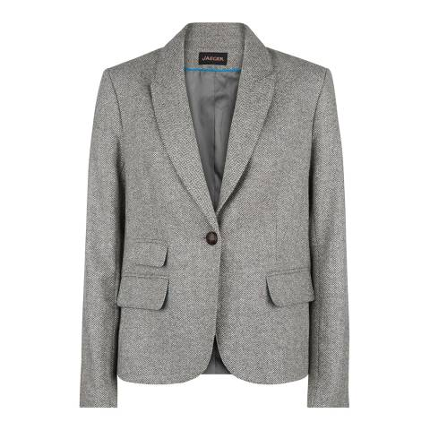 Jaeger Grey Wool Blend Herringbone Jacket