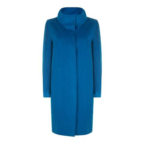 Jaeger Blue Cocoon Wool Coat