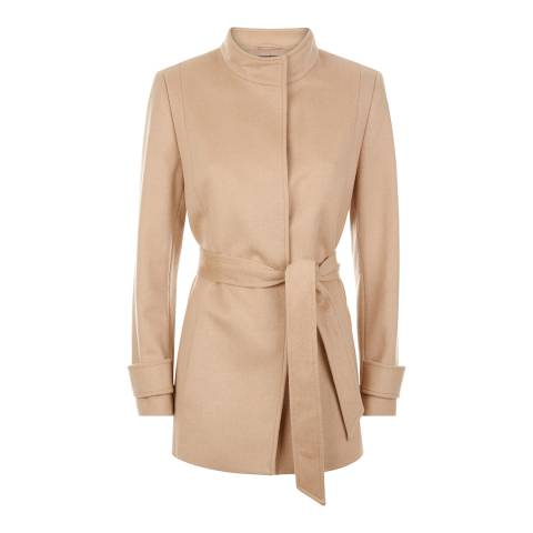 Jaeger Beige Wool Blend Short Belted Coat