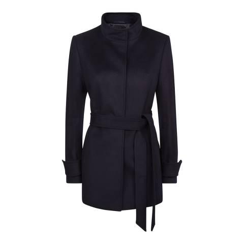 Jaeger Dark Navy Wool Blend Short Belted Coat