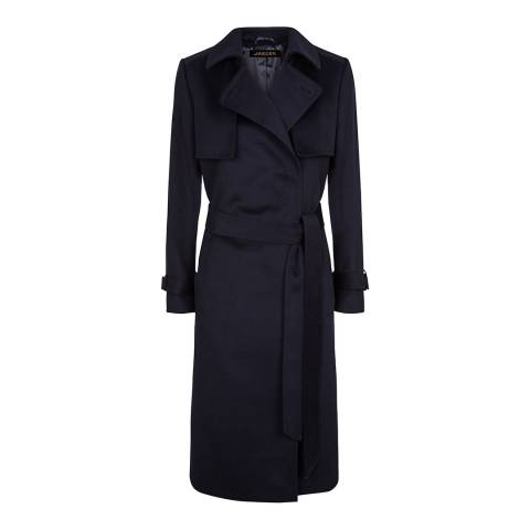 Jaeger Navy Wool Trench Coat