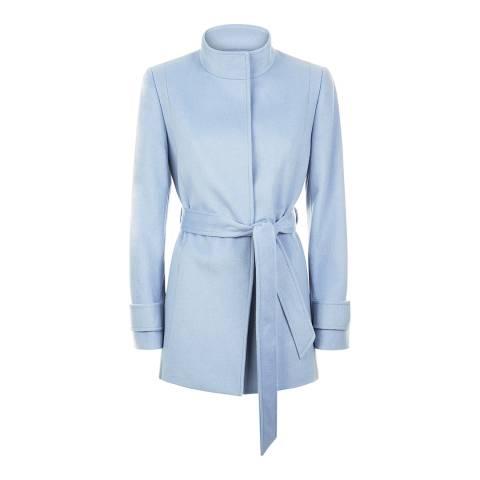 Jaeger Pale Blue Wool Funnel Neck Coat