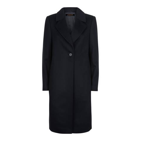 Jaeger Navy Blue Wool Blend Crombie Coat
