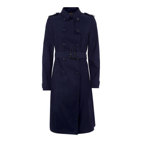 Jaeger Navy Cotton Blend Trench Coat