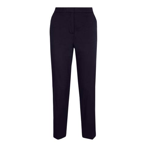 Jaeger Navy Self Pattern Slim Fit Cotton Stretch Trousers