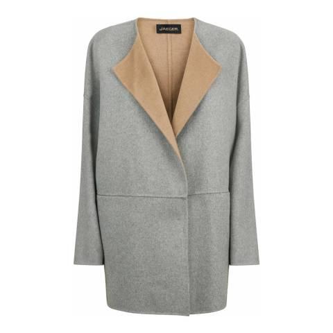 Jaeger Pale Grey/Camel Double Face Wool Blend Cape Coat