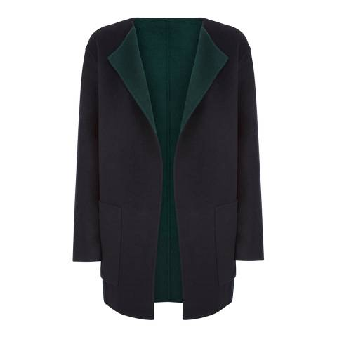 Jaeger Black/Dark Green Wool Blend Reversible Coat