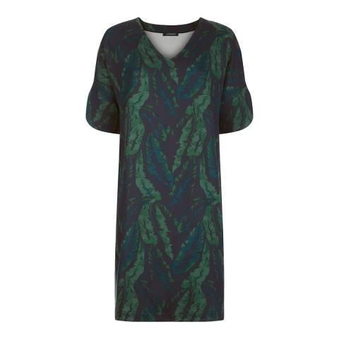 Jaeger Dark Blue Banana Leaf Print Dress
