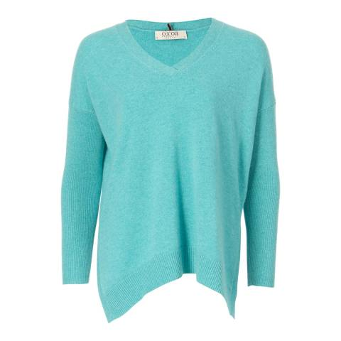 Cocoa Cashmere Mint V Neck Easy Fit Cashmere Jumper