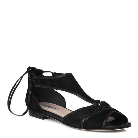 L K Bennett Black Suede Strappy Flat Sandals