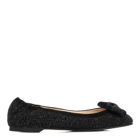 L K Bennett Black Glitter Bow Detail Flat Shoes