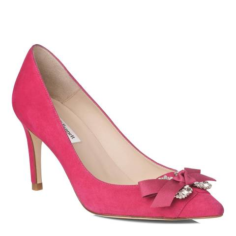 L K Bennett Pink Suede Pointed Toe Embellished Court Shoe