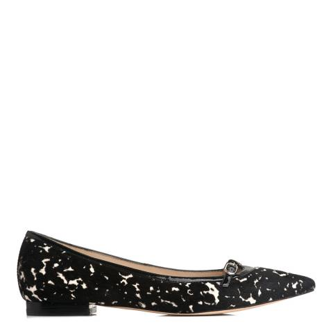 L K Bennett Black/White Printed Pointed Flat Shoes