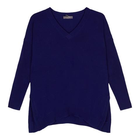Cocoa Cashmere French Navy V Neck Cashmere Jumper