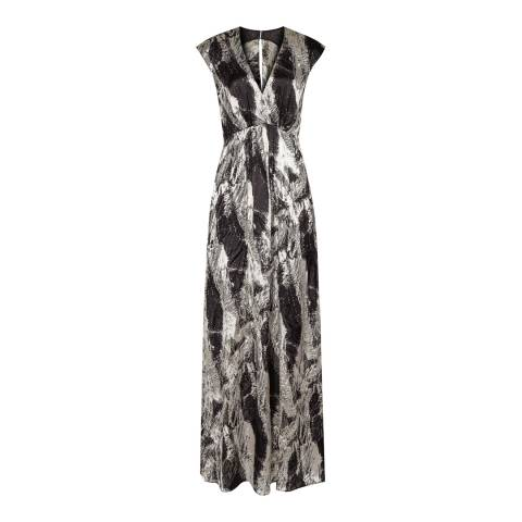 Reiss Platinum/Black Lin Maxi Printed Dress