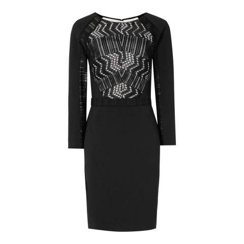 Reiss Black Lace Panelled Libby Dress