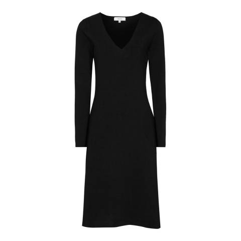 Reiss Black Emilia Knitted Dress