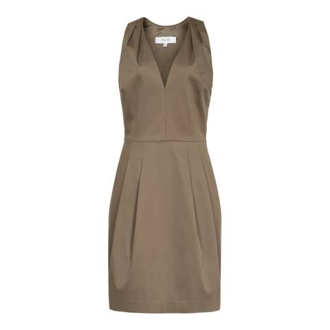 Reiss Khaki Rakele Cotton Satine Dress