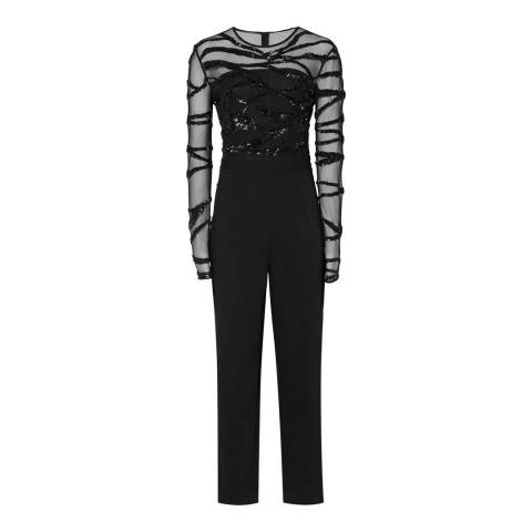 Reiss Black Embroidered Salie Jumpsuit