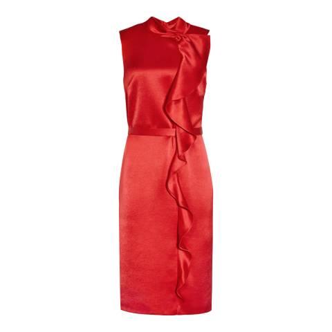 Reiss Red Lola Drape Front Dress