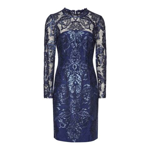 Reiss Blue Sequin Bodycon Asabi Dress